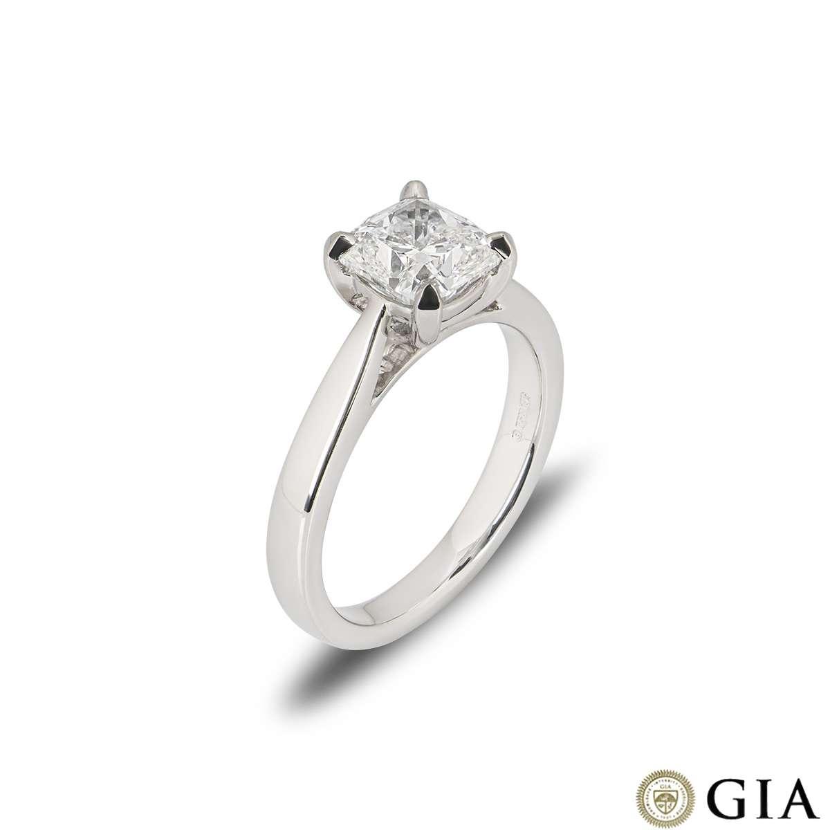Platinum Cushion Cut Diamond Ring 1.70ct F/VS1